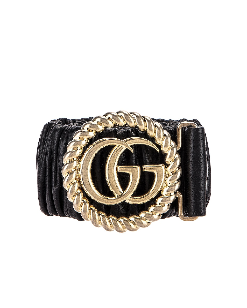 Image 1 of Gucci Leather Double G Buckle Belt in Black