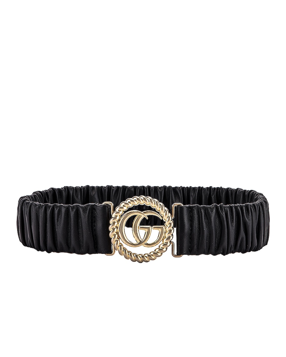 Image 2 of Gucci Leather Double G Buckle Belt in Black