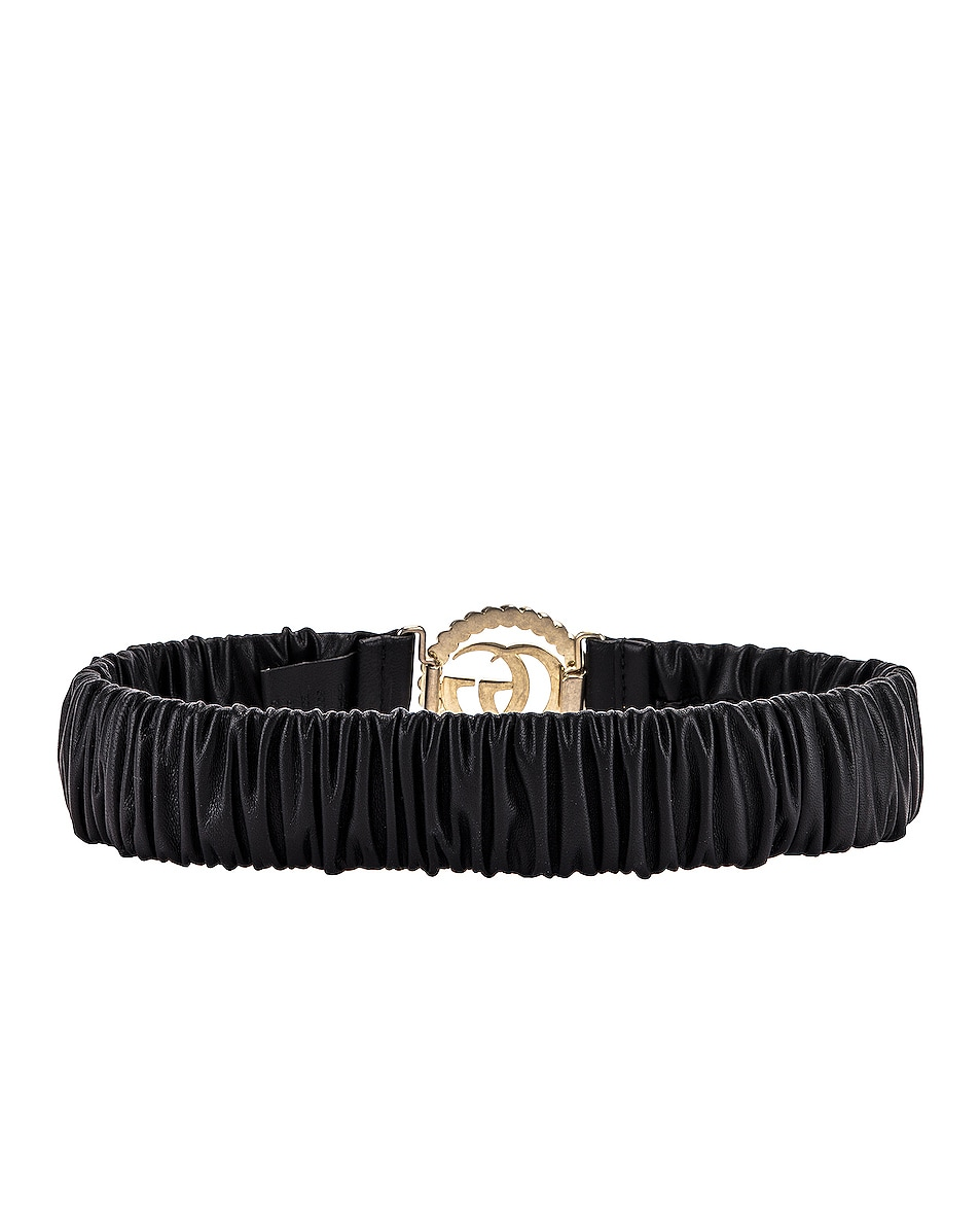 Image 3 of Gucci Leather Double G Buckle Belt in Black