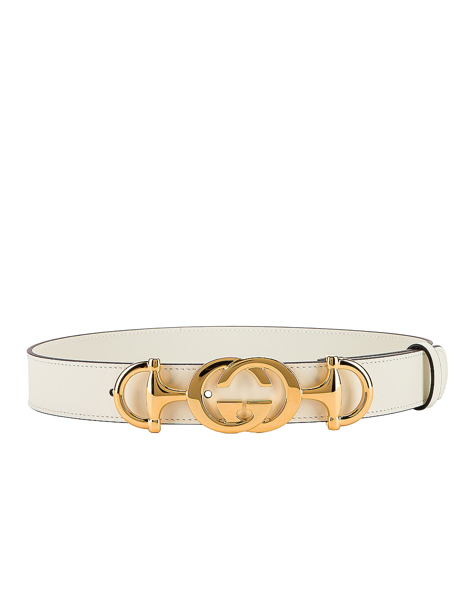 Image 2 of Gucci Leather Interlocking G Belt in Off White