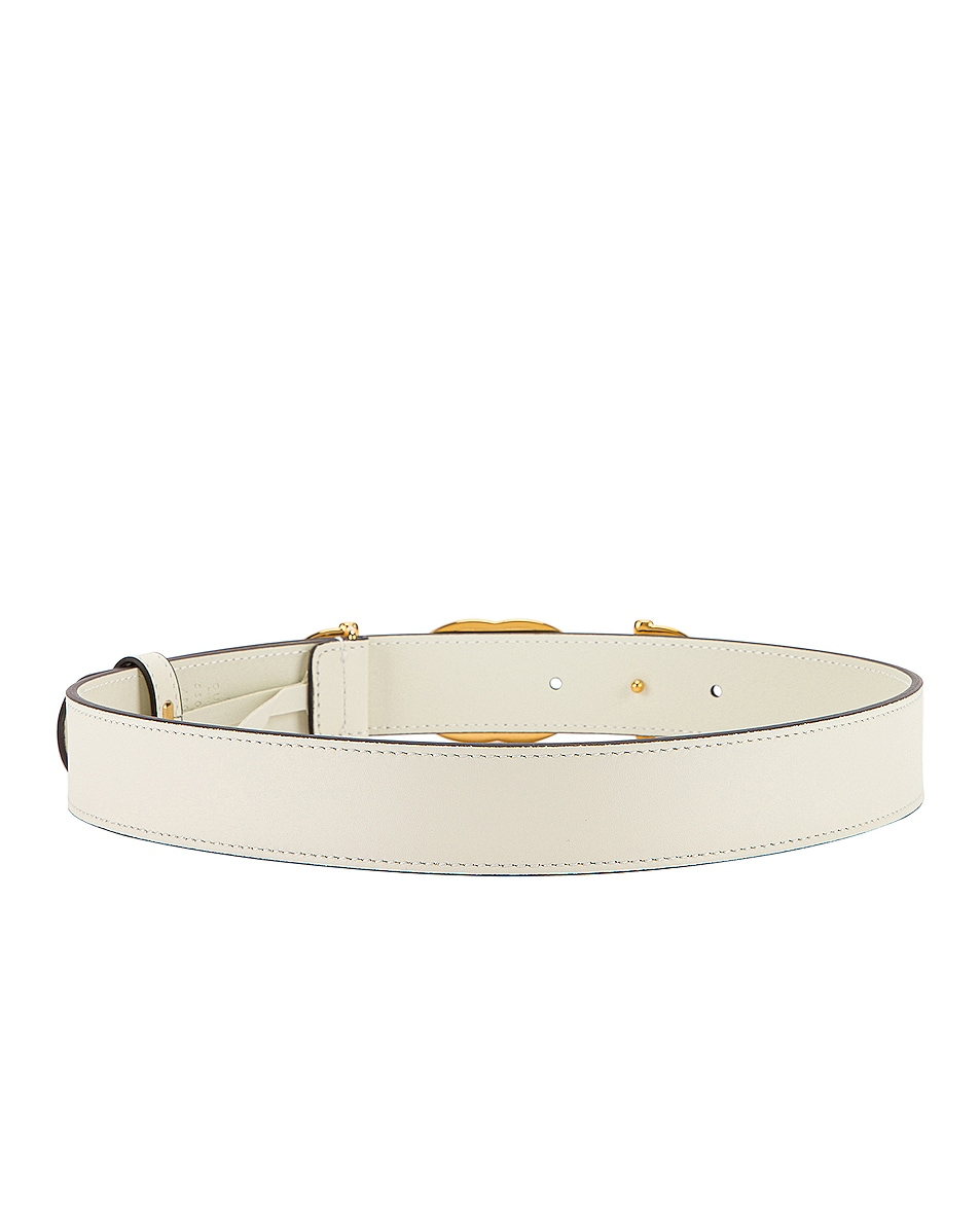 Image 3 of Gucci Leather Interlocking G Belt in Off White