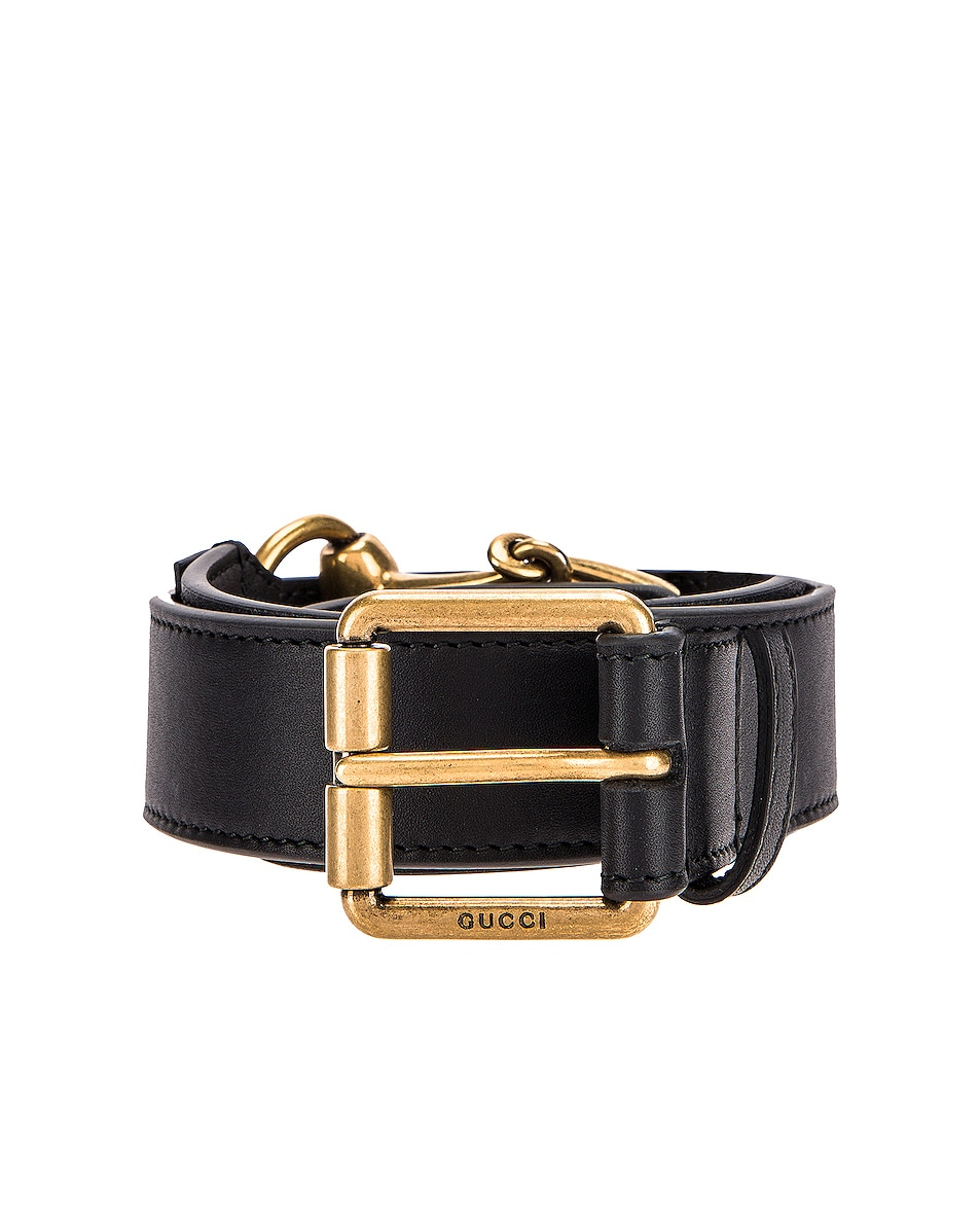 Image 1 of Gucci Horsebit Leather Belt in Black