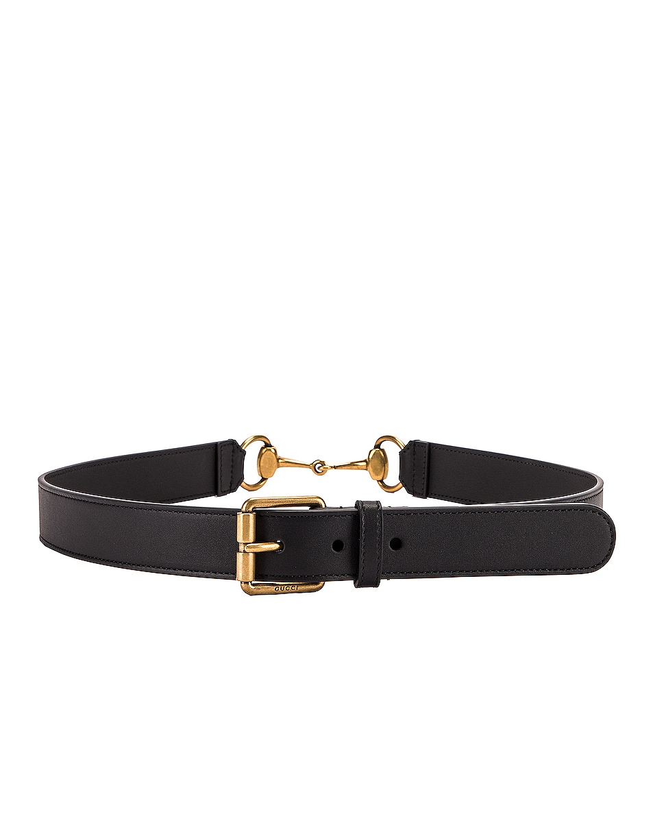 Image 2 of Gucci Horsebit Leather Belt in Black