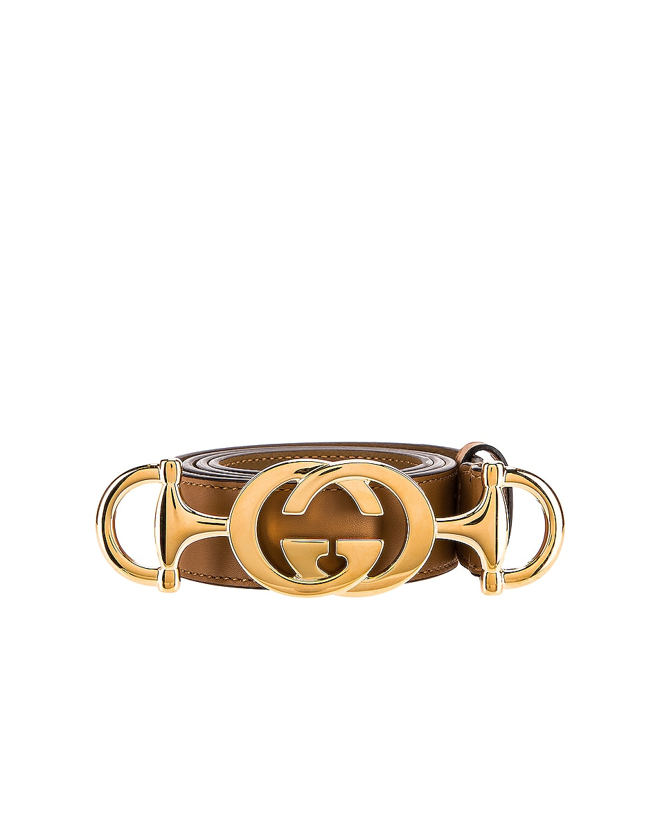 Image 1 of Gucci Leather Interlocking G Belt in Taupe