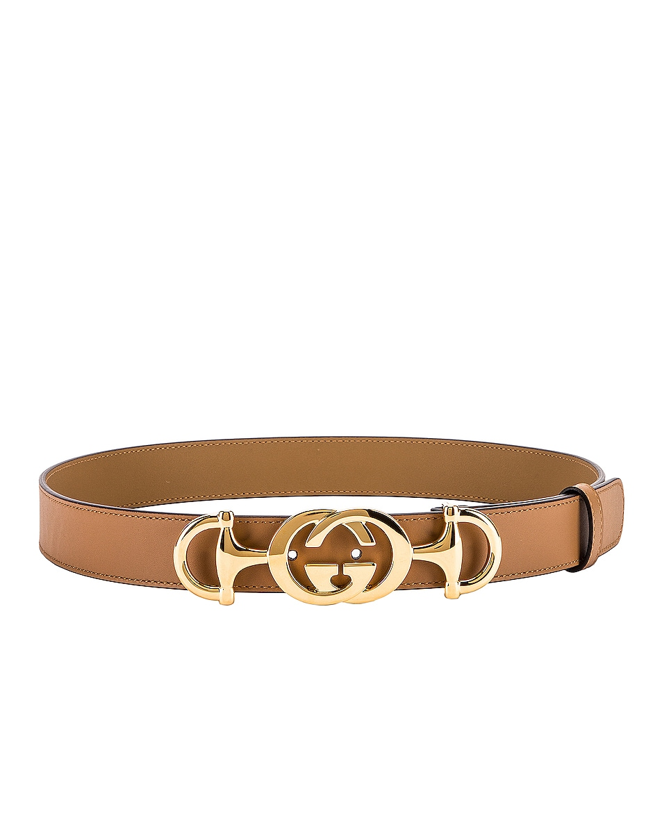 Image 2 of Gucci Zumi Leather Belt in Taupe