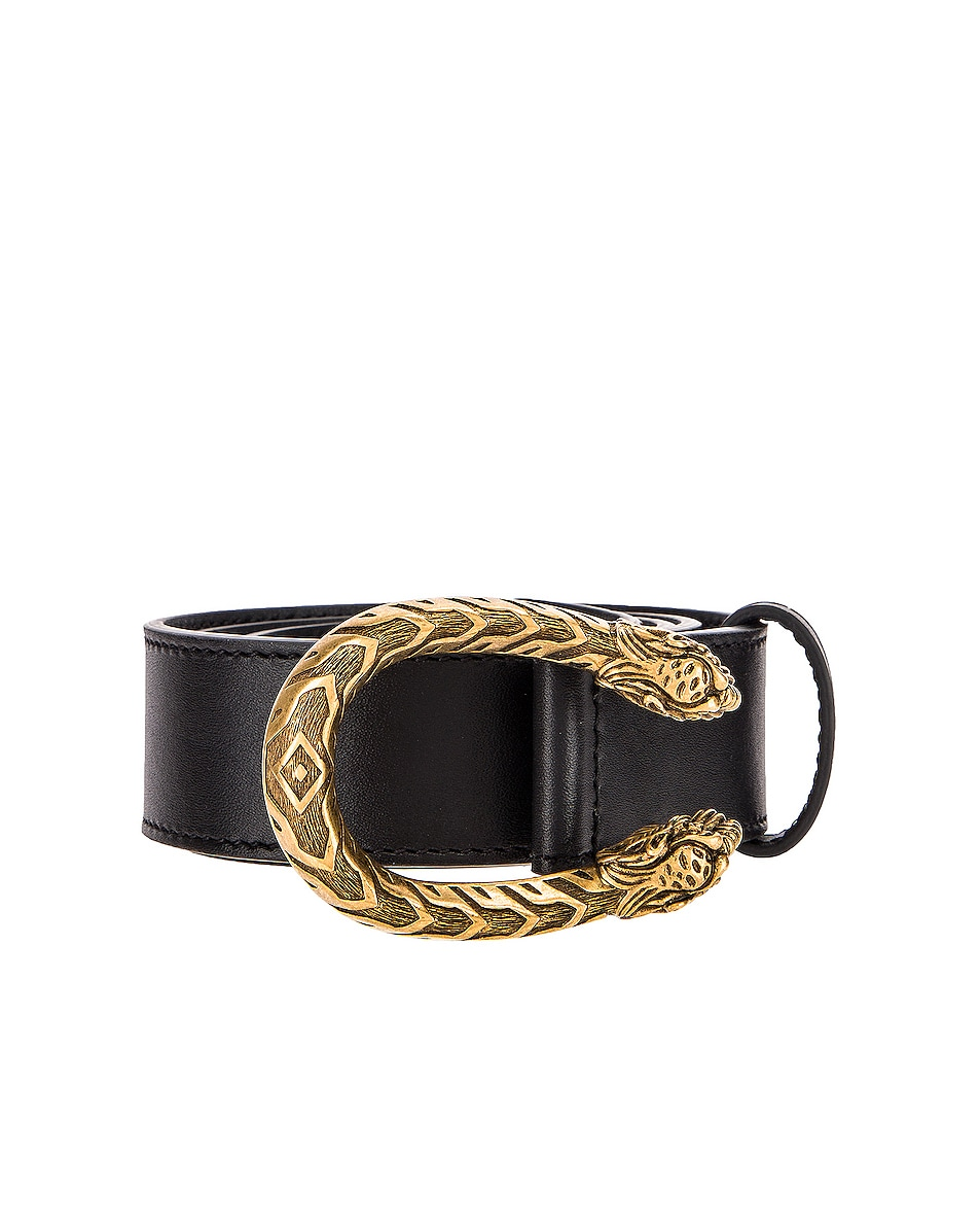 Image 1 of Gucci Leather Dionysus Buckle Belt in Black