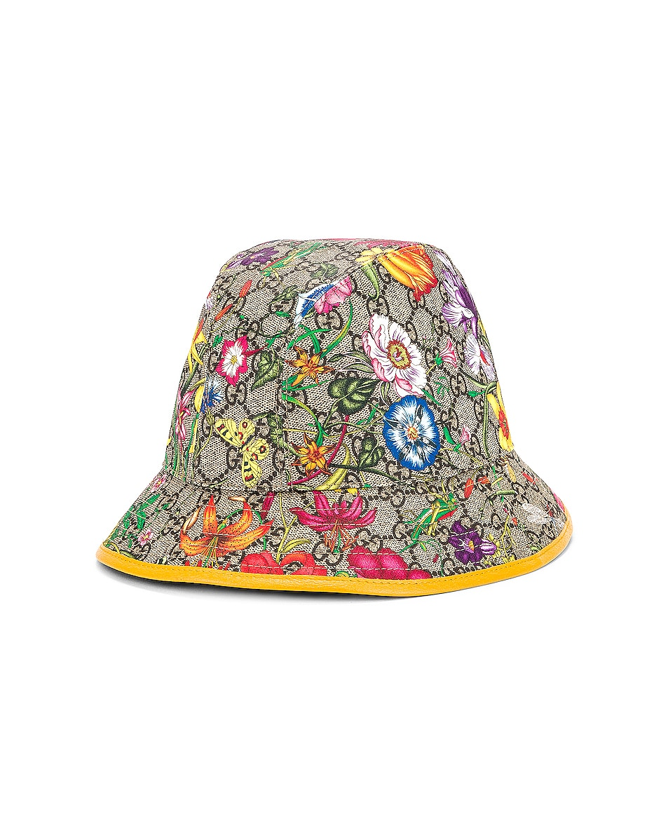 Image 2 of Gucci GG Supreme Flora Bucket Hat in Multicolor