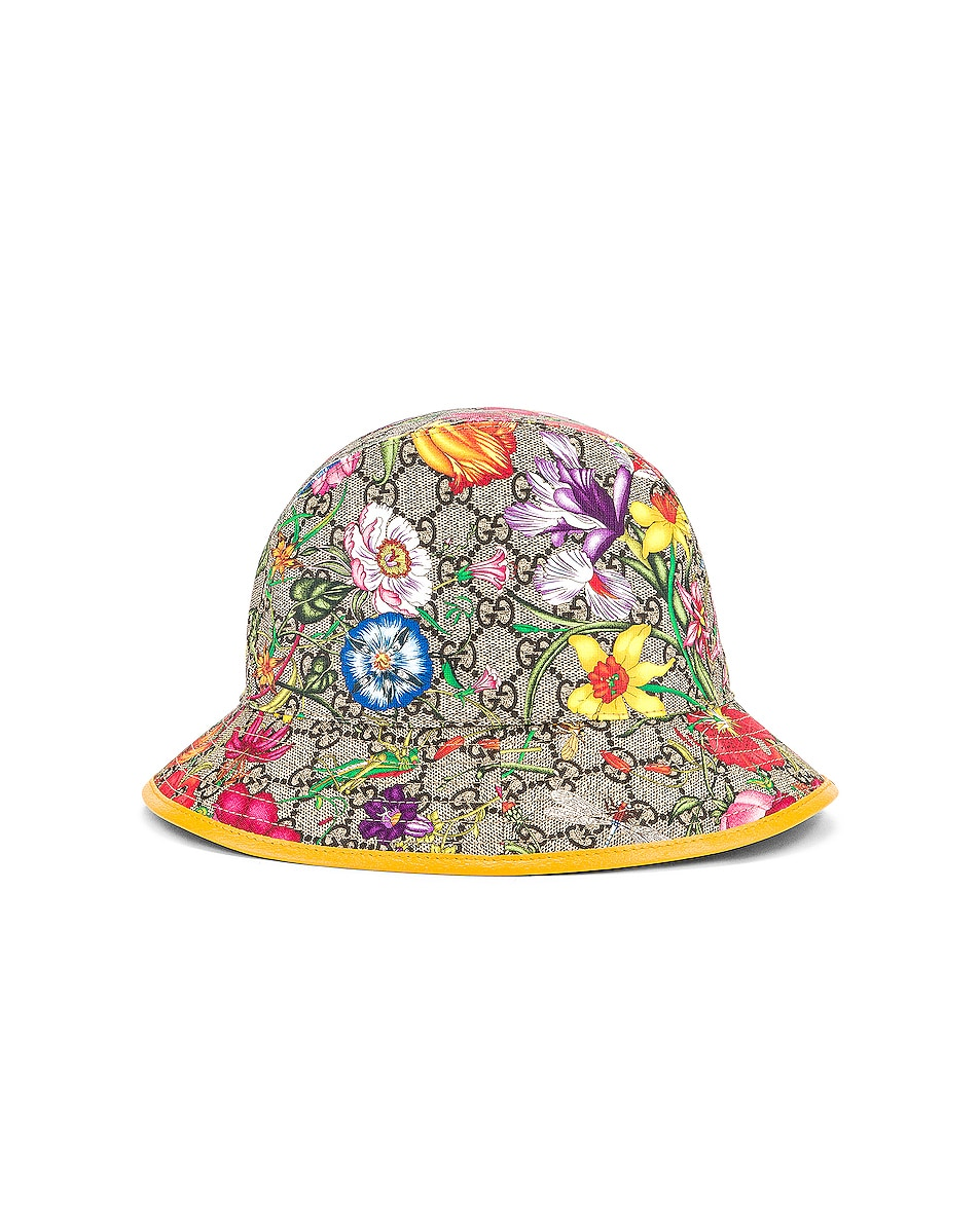 Image 3 of Gucci GG Supreme Flora Bucket Hat in Multicolor