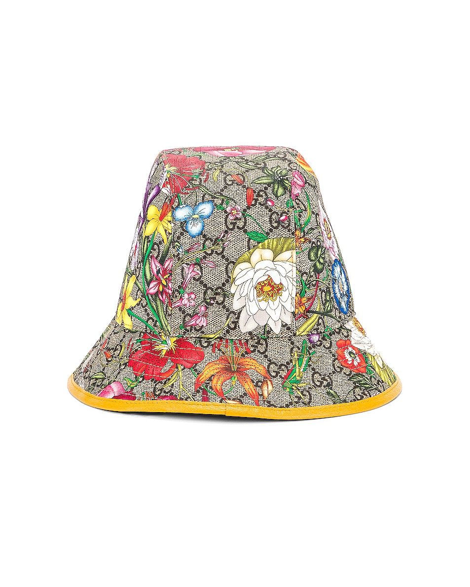 Image 4 of Gucci GG Supreme Flora Bucket Hat in Multicolor