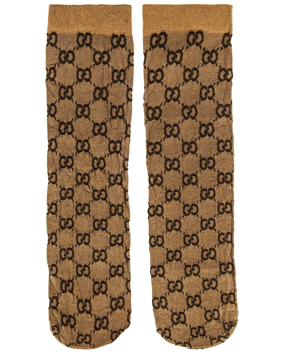 Image 1 of Gucci GG Socks in Beige & Dark Brown