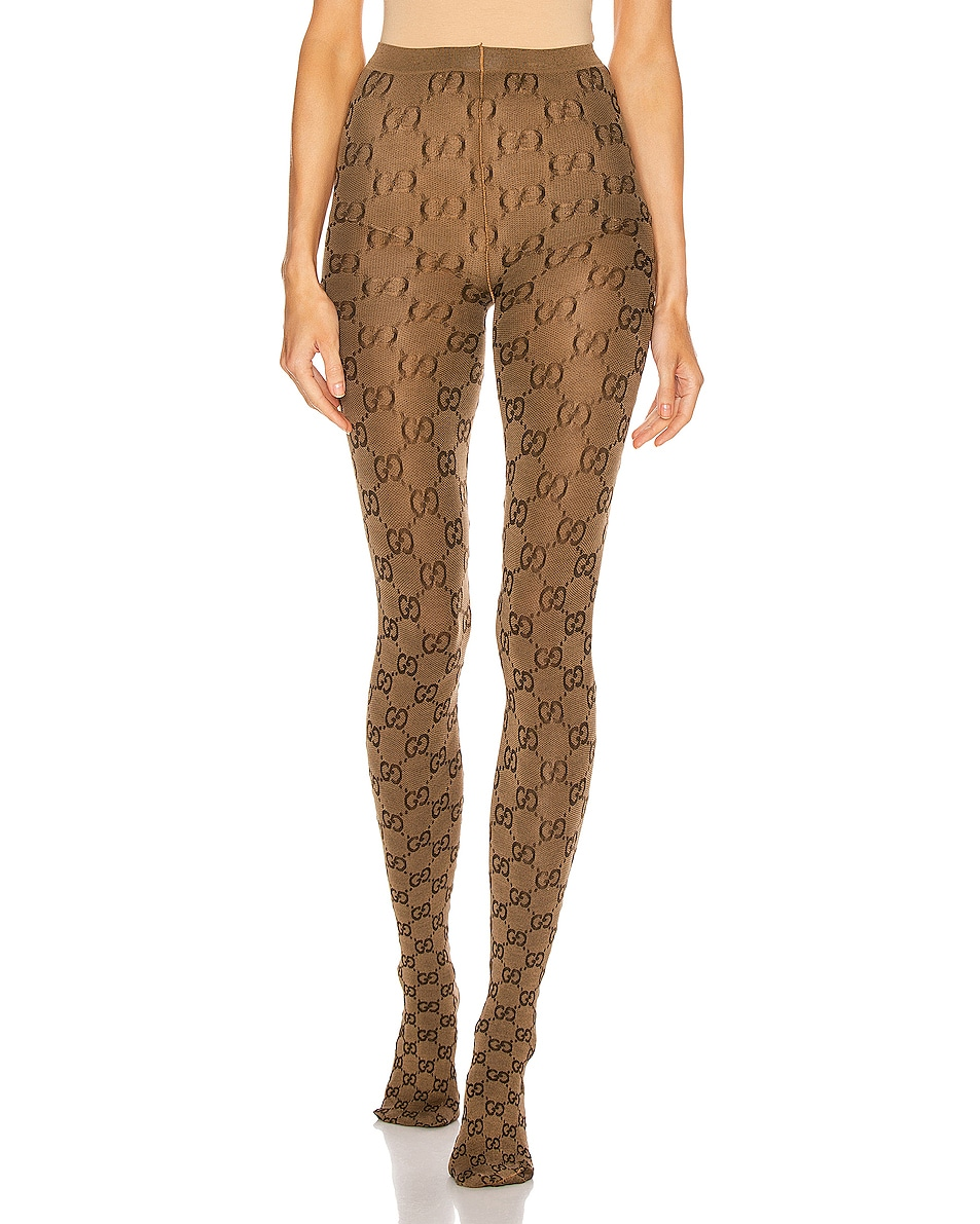Image 1 of Gucci GG Tights in Beige & Brown