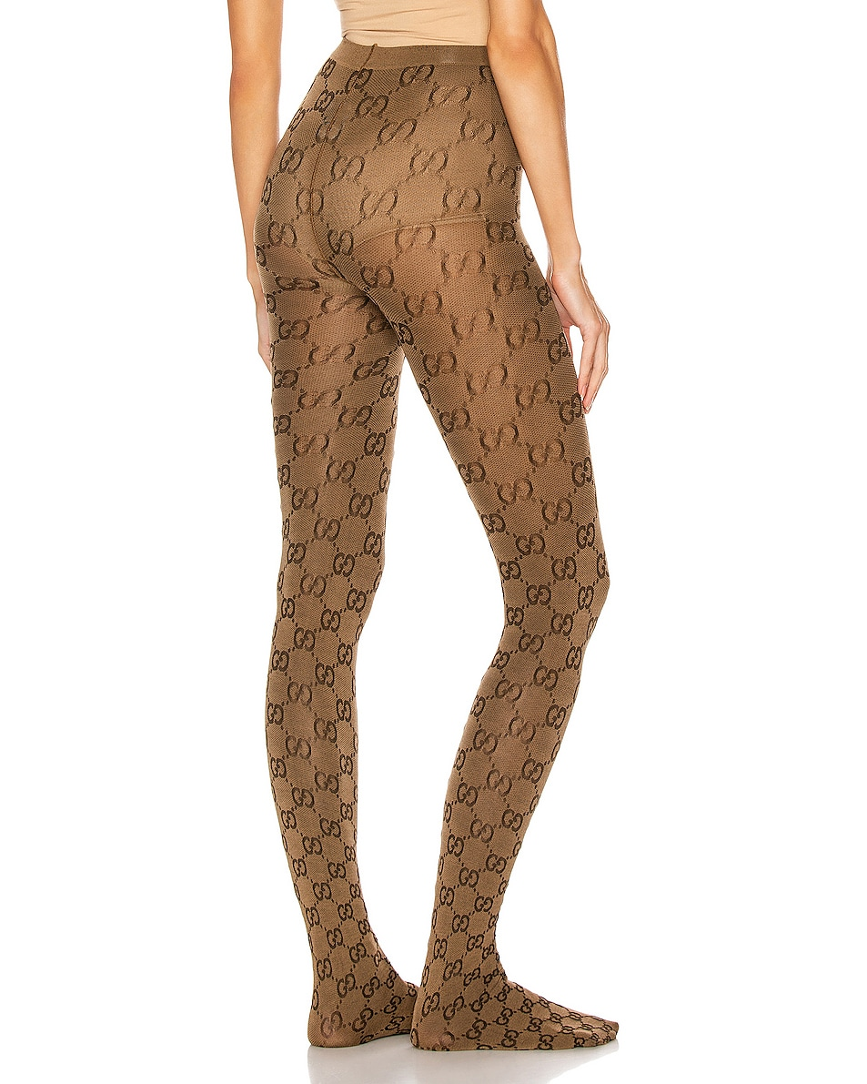 Image 3 of Gucci GG Tights in Beige & Brown