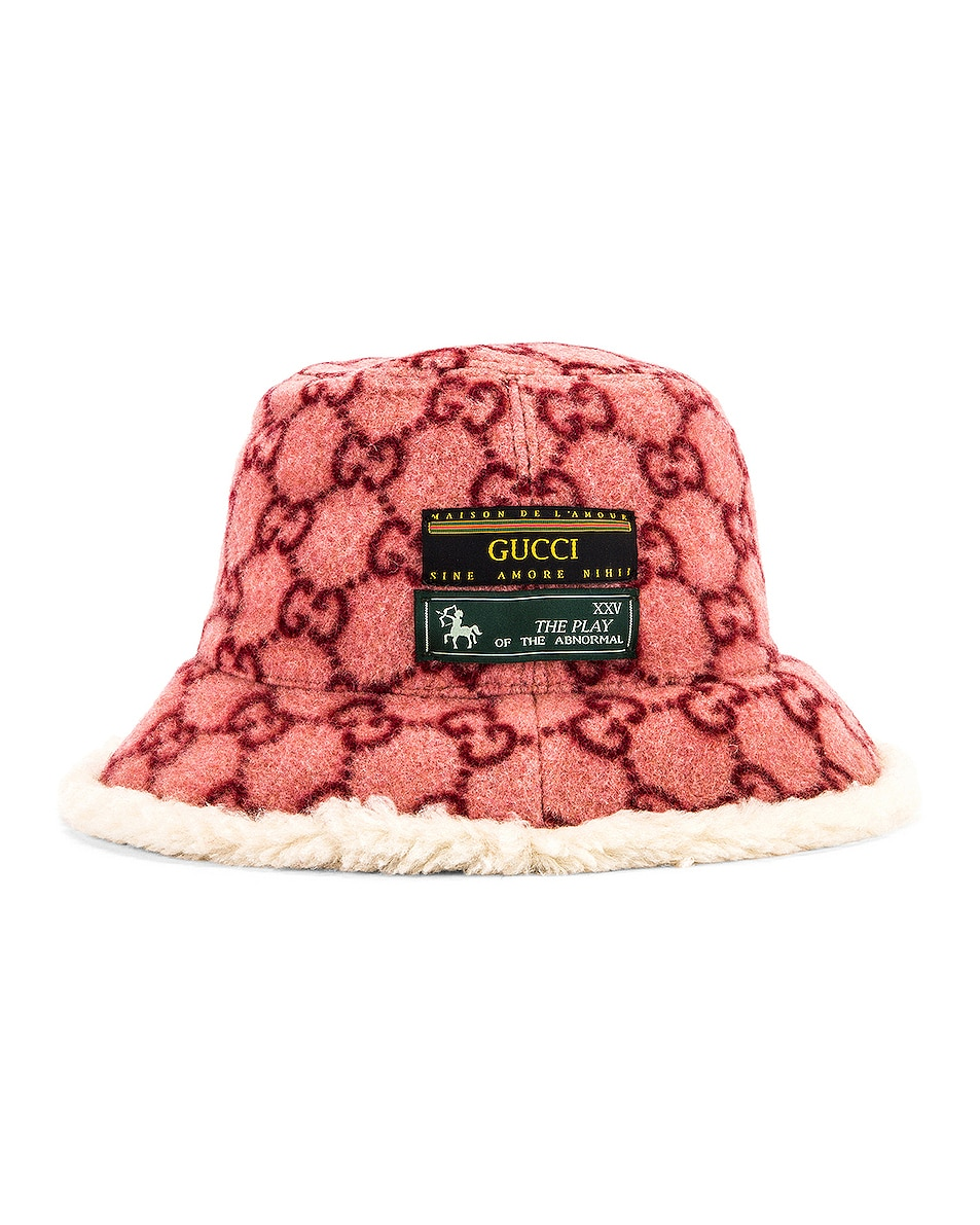 Image 3 of Gucci GG Bucket Hat in Roseate & White