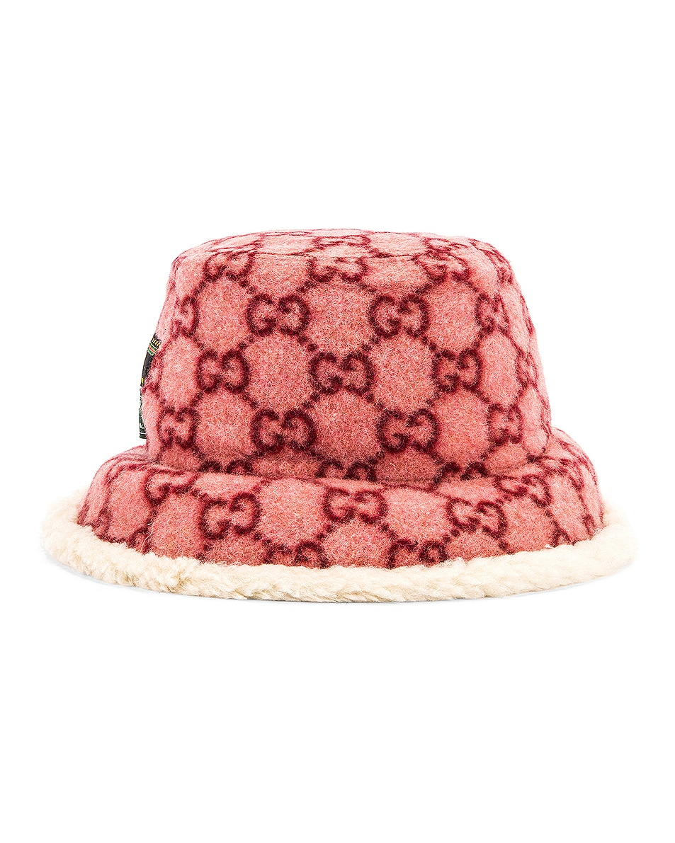 Image 4 of Gucci GG Bucket Hat in Roseate & White