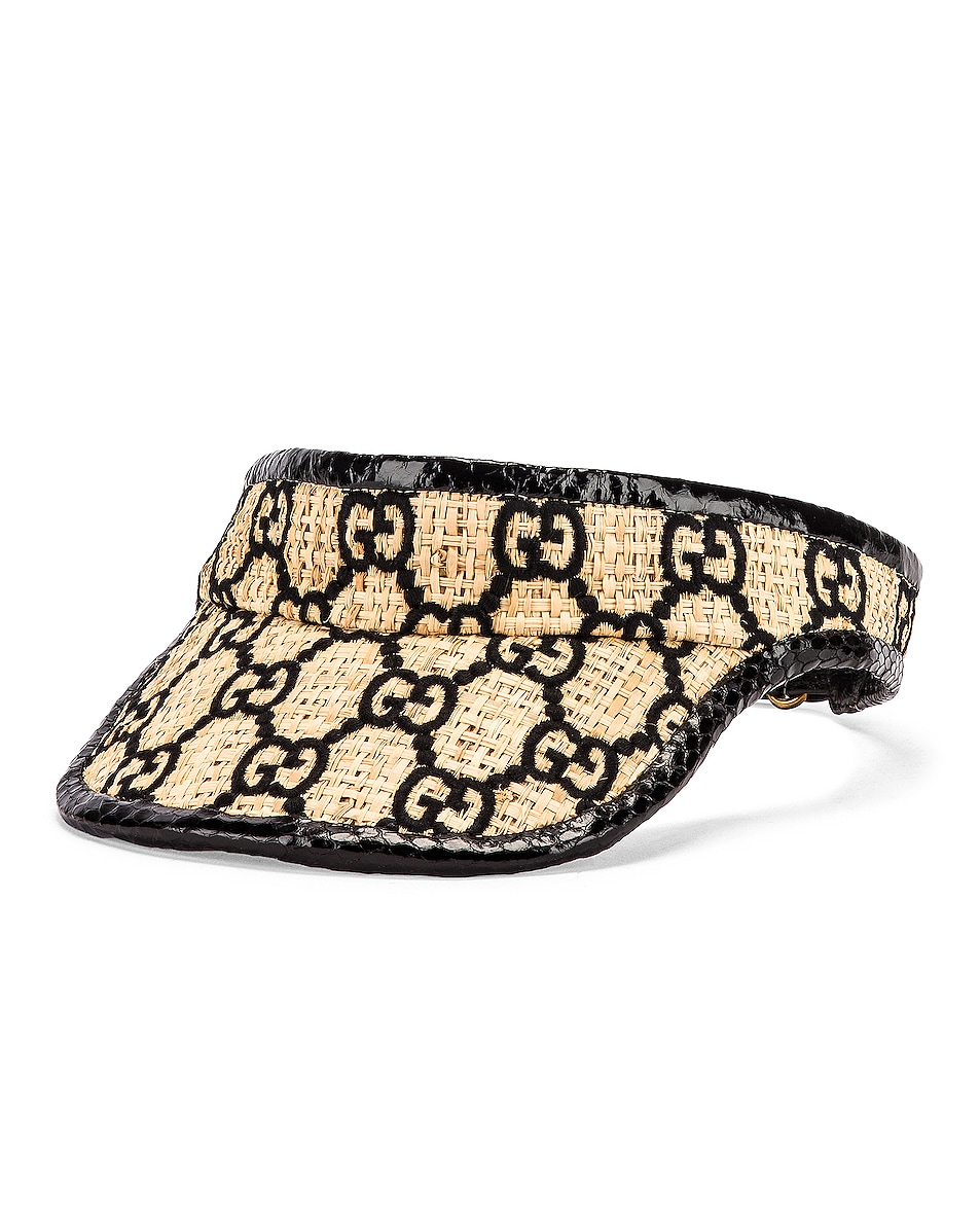 Image 2 of Gucci GG Visor in Ivory & Black