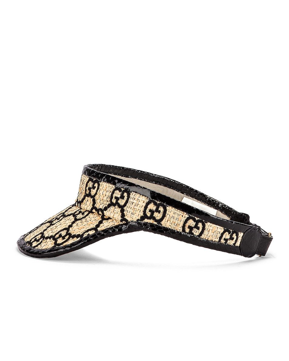 Image 3 of Gucci GG Visor in Ivory & Black