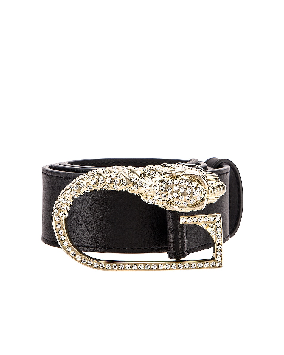 Image 1 of Gucci Leather Belt in Black & Crystal