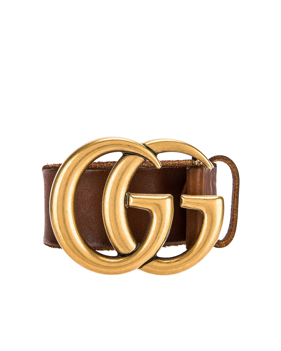 Image 1 of Gucci GG Leather Belt in Brown