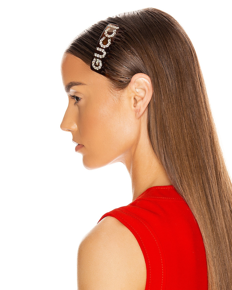 Image 2 of Gucci GG Hair Clip in Brown