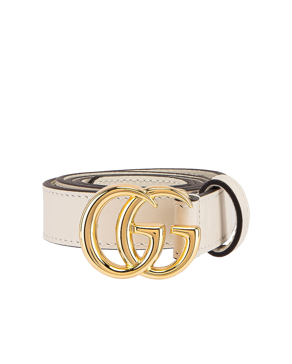Image 1 of Gucci GG Marmont Belt in Mystic White