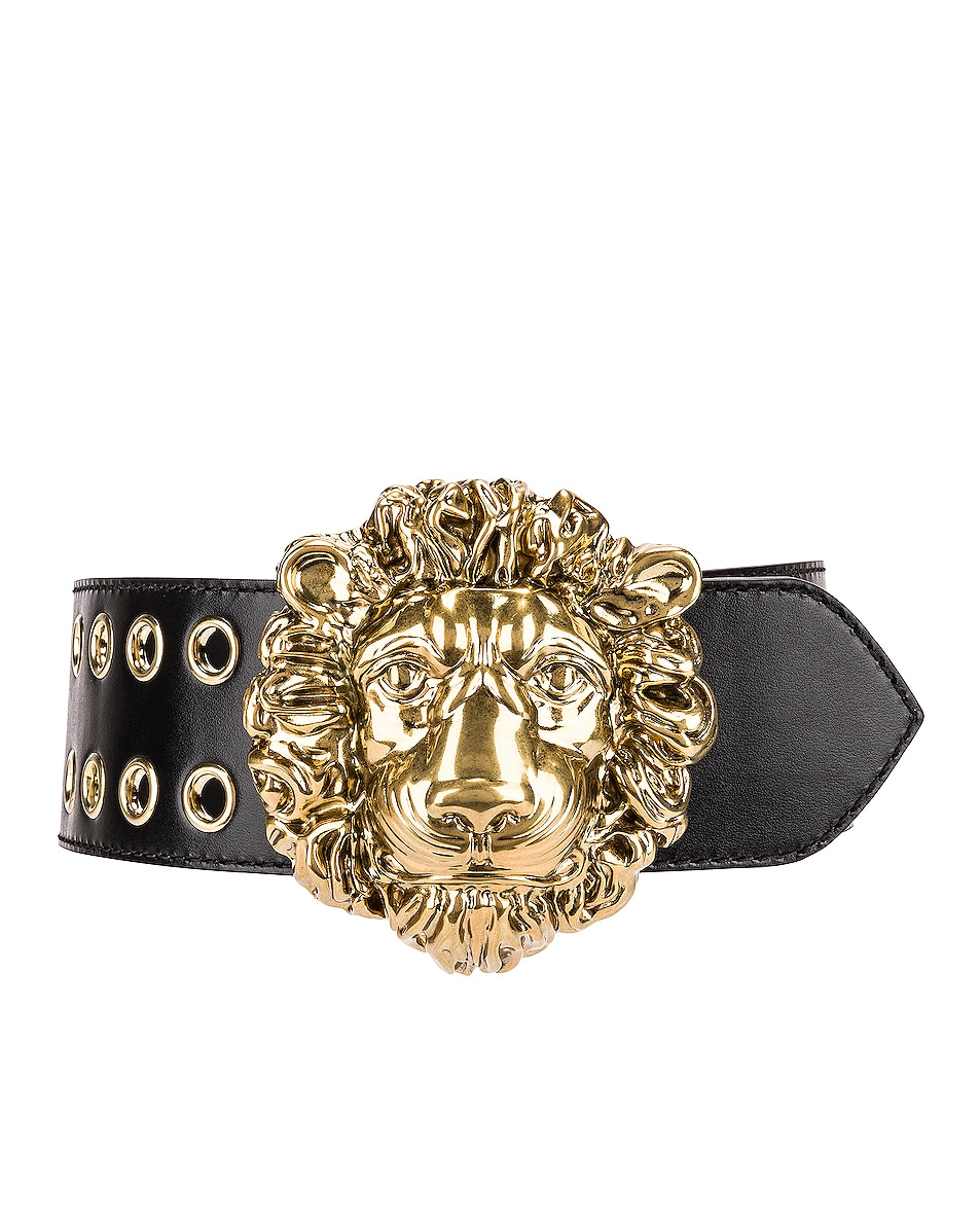Image 1 of Gucci Leather Lion Belt in 1000 Nero