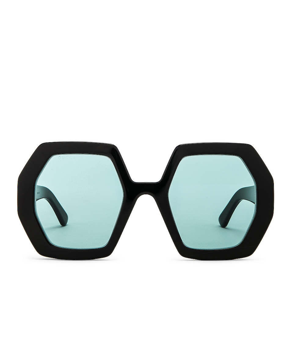 Image 1 of Gucci Runway Geometric Sunglasses in Shiny Black & Green