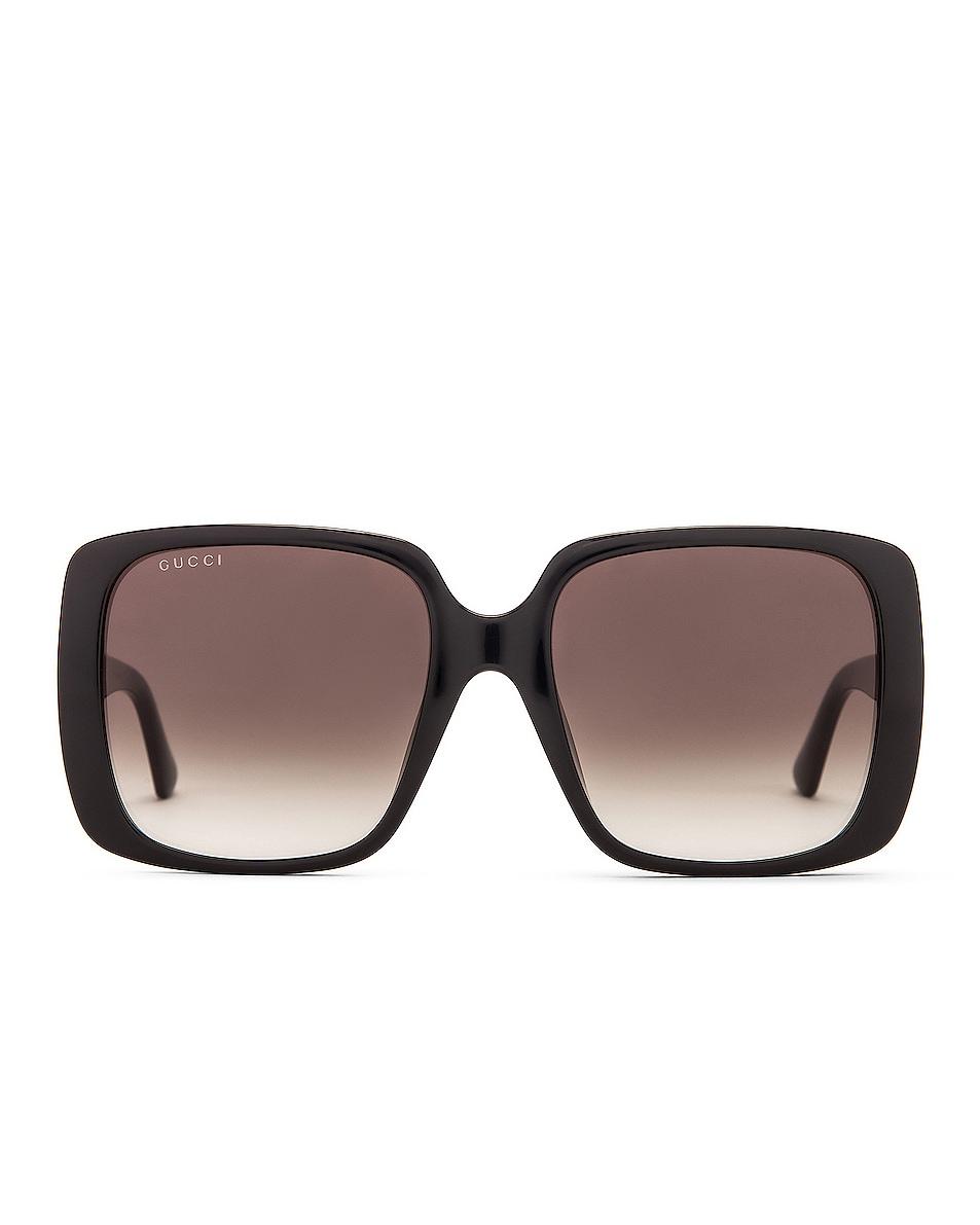 Image 1 of Gucci Logo Square Sunglasses in Shiny Black & Grey Gradient