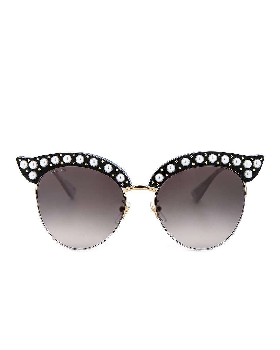 Image 1 of Gucci Opulent Luxury Pop Glitter Sunglasses in Black Pearls Gold