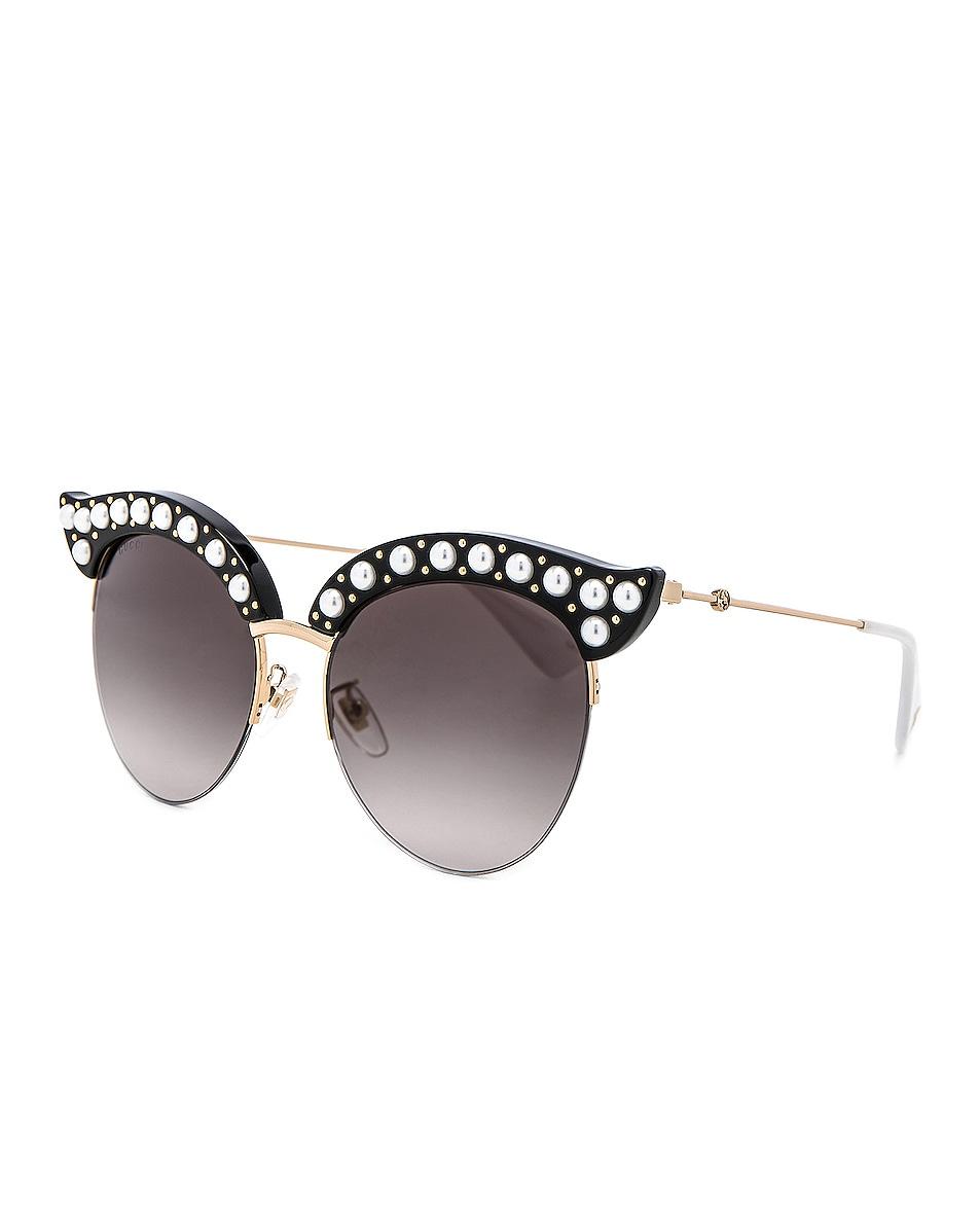 Image 2 of Gucci Opulent Luxury Pop Glitter Sunglasses in Black Pearls Gold
