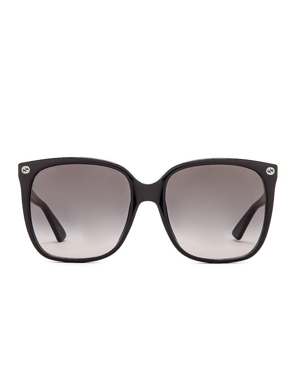 Image 1 of Gucci Oversized Rectangular Sunglasses in Black & Grey