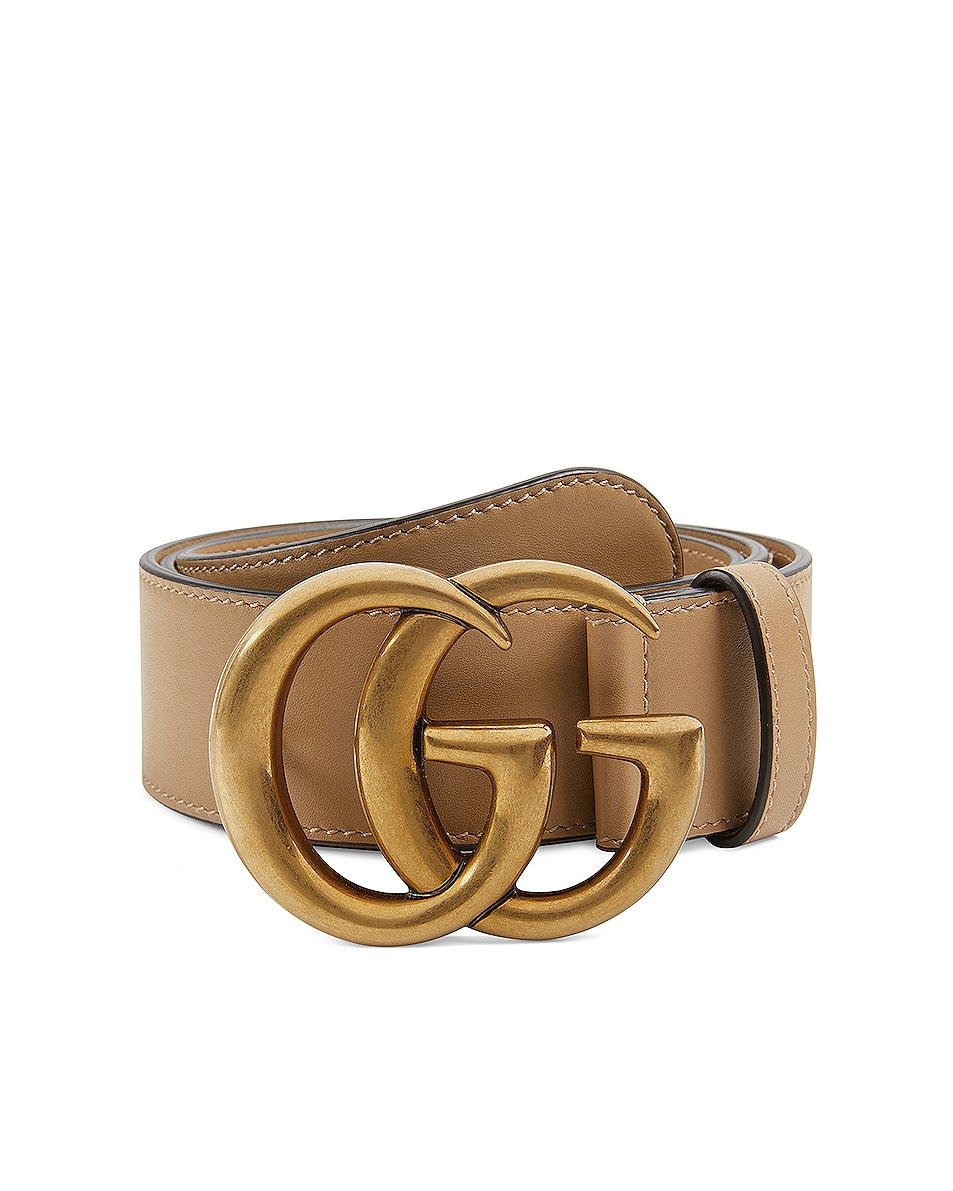 Image 1 of Gucci GG Leather Belt in Natural Tan