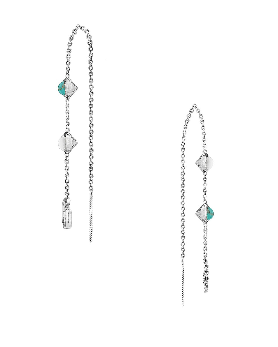 Image 2 of Gucci GG Marmont Threader Earrings in Sterling Silver & Turquoise