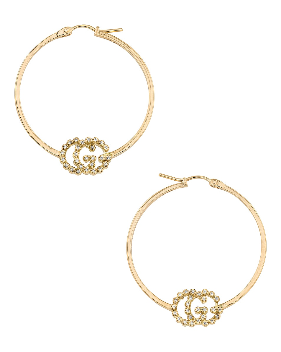 Image 1 of Gucci Running G Hoop Earrings in Yellow Gold & Diamonds