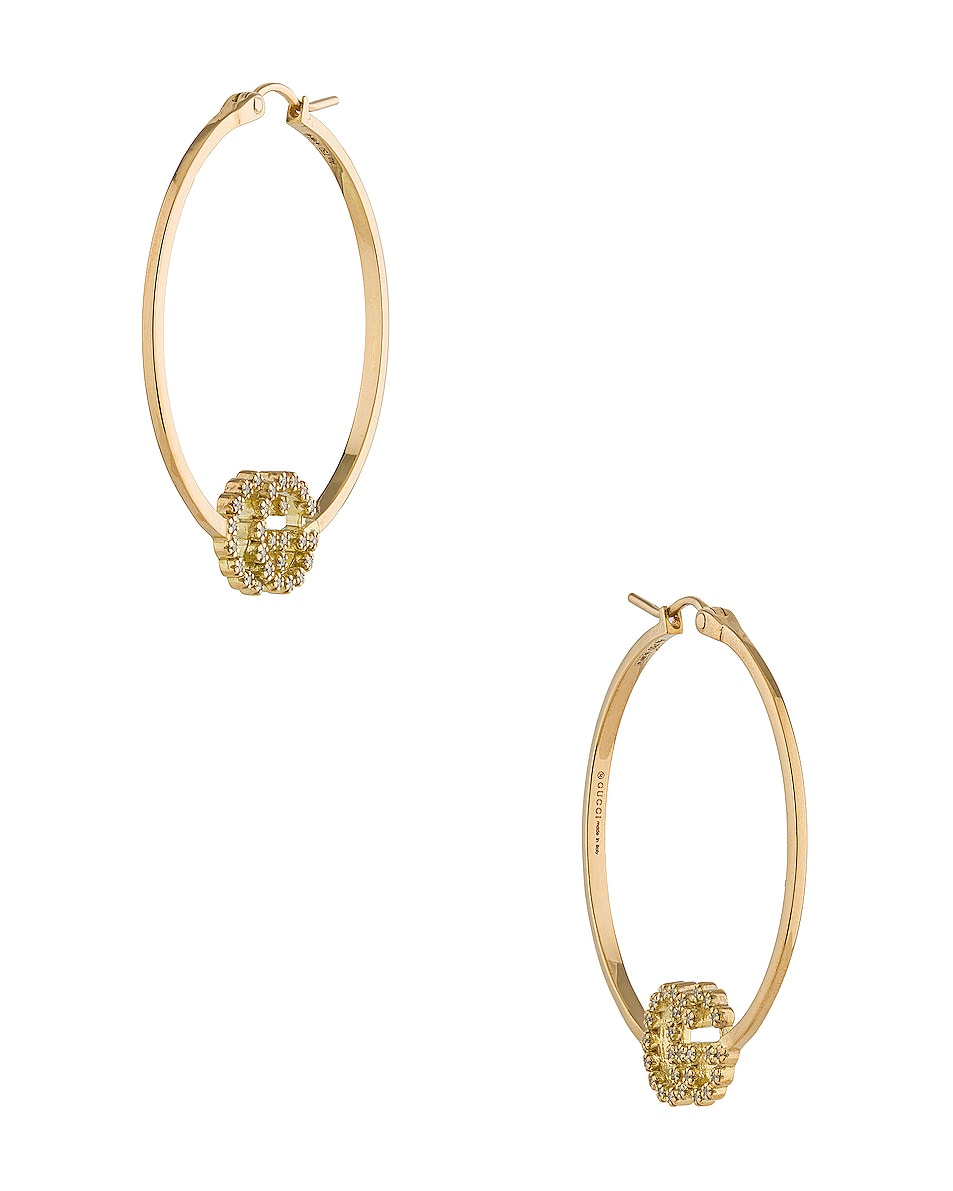 Image 3 of Gucci Running G Hoop Earrings in Yellow Gold & Diamonds