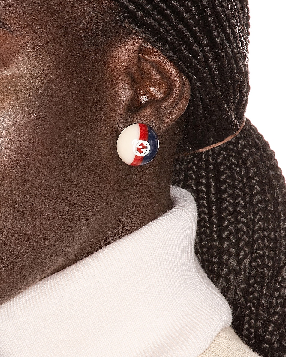Image 2 of Gucci Web Stud Earrings in Red & Blue