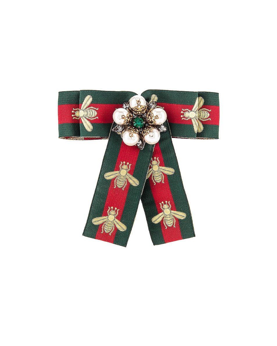 Image 1 of Gucci Bee Bow Pin in Green & Red