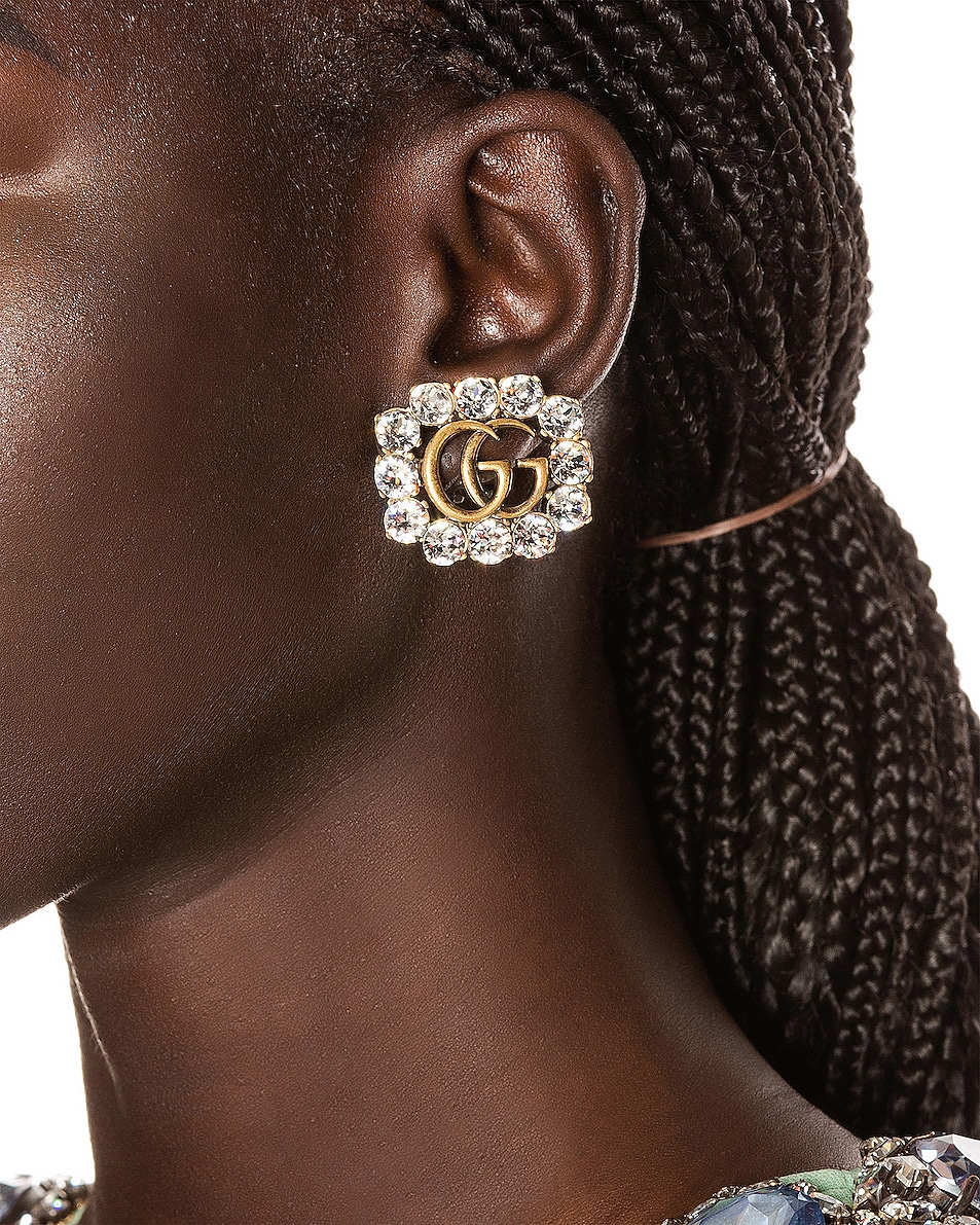 Image 2 of Gucci GG Marmont Earrings in Crystal
