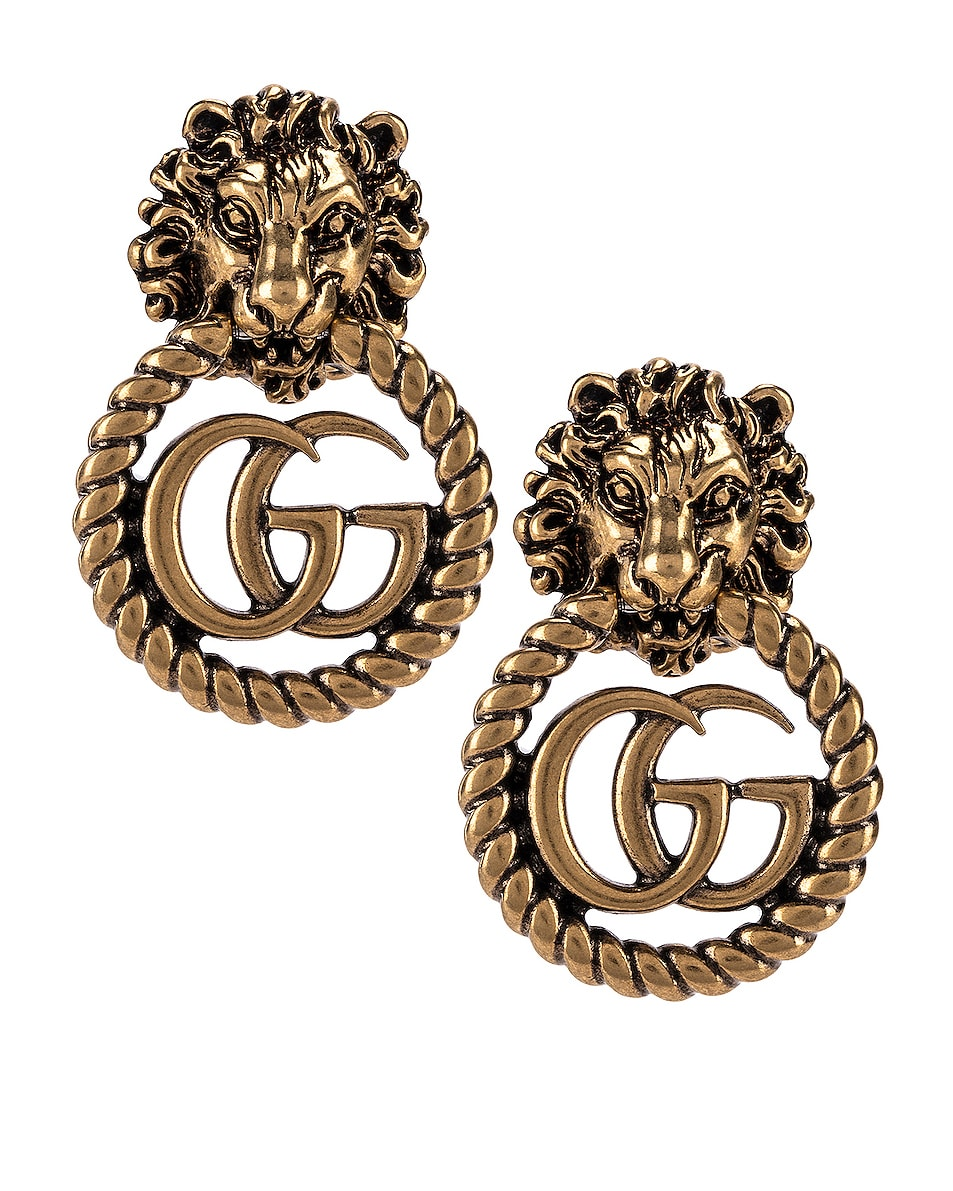 Image 1 of Gucci Lion Head Earrings in Gold