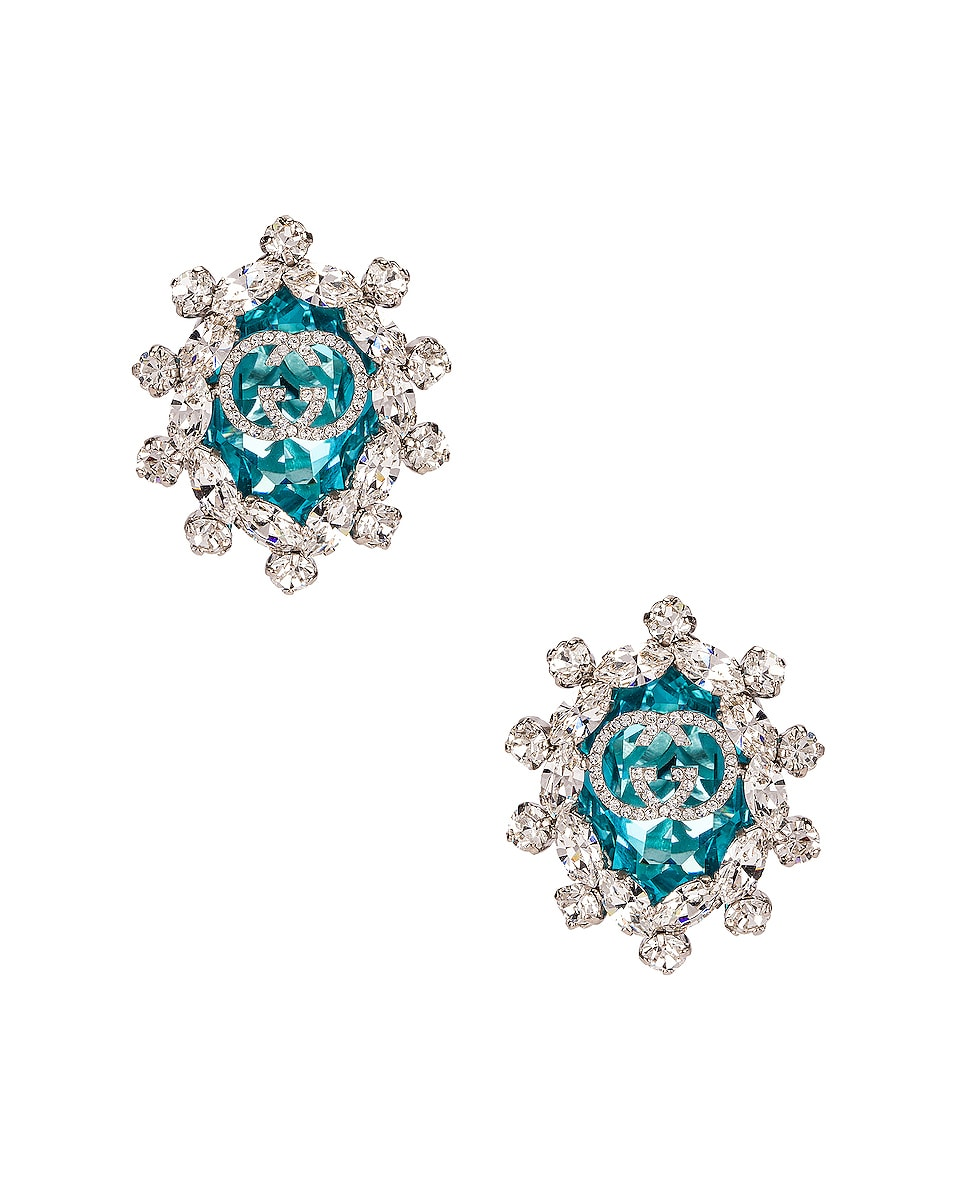 Image 1 of Gucci Colored Crystal Earrings in Green