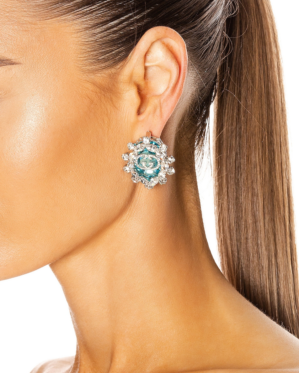 Image 2 of Gucci Colored Crystal Earrings in Green