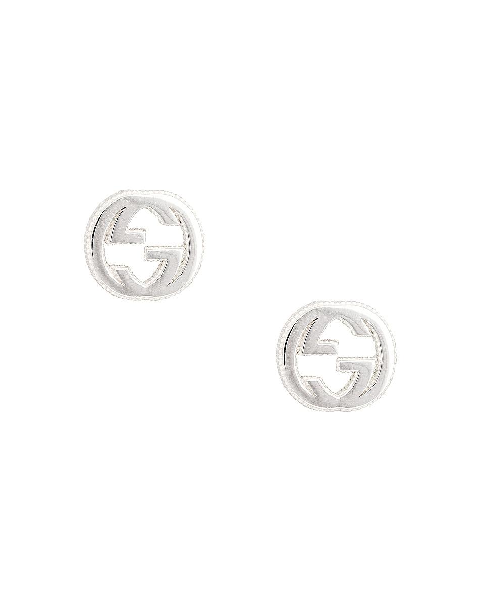 Image 1 of Gucci Interlocking G Stud Earrings in Sterling Silver
