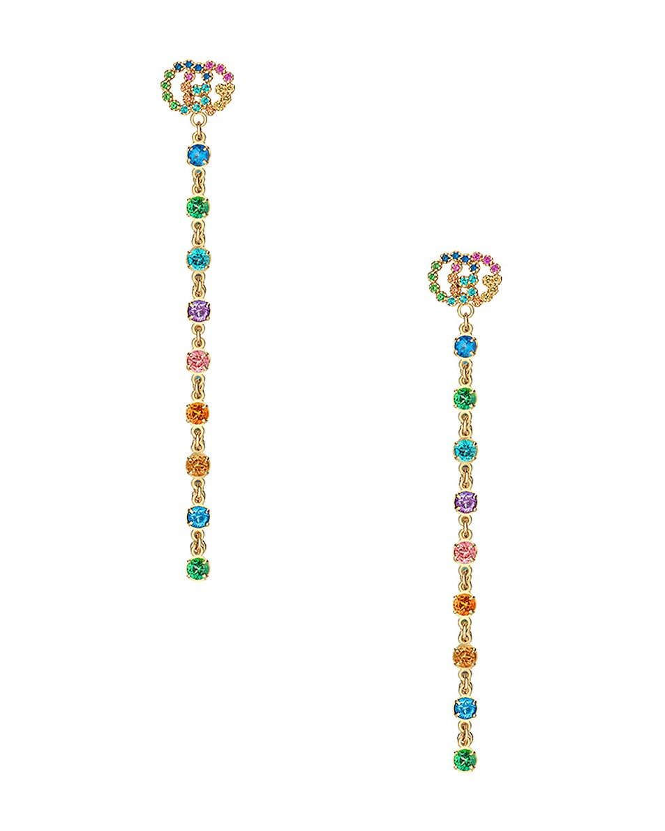 Image 1 of Gucci GG Running Long Pendant Earrings in 18KT Yellow Gold & Multicolor