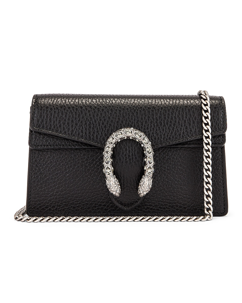 Image 1 of Gucci Super Mini Chain Bag in Black & Black Diamond