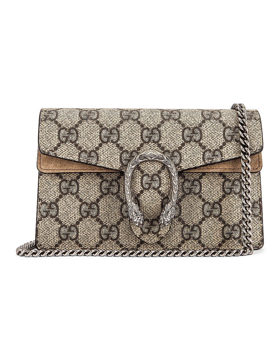 Image 1 of Gucci Super Mini Dionysus GG Chain Bag in Beige Ebony & Taupe