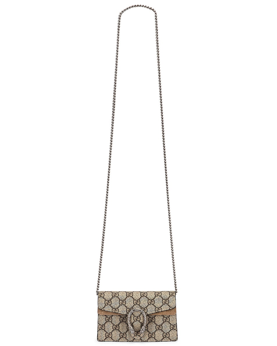 Image 6 of Gucci Super Mini Dionysus GG Chain Bag in Beige Ebony & Taupe