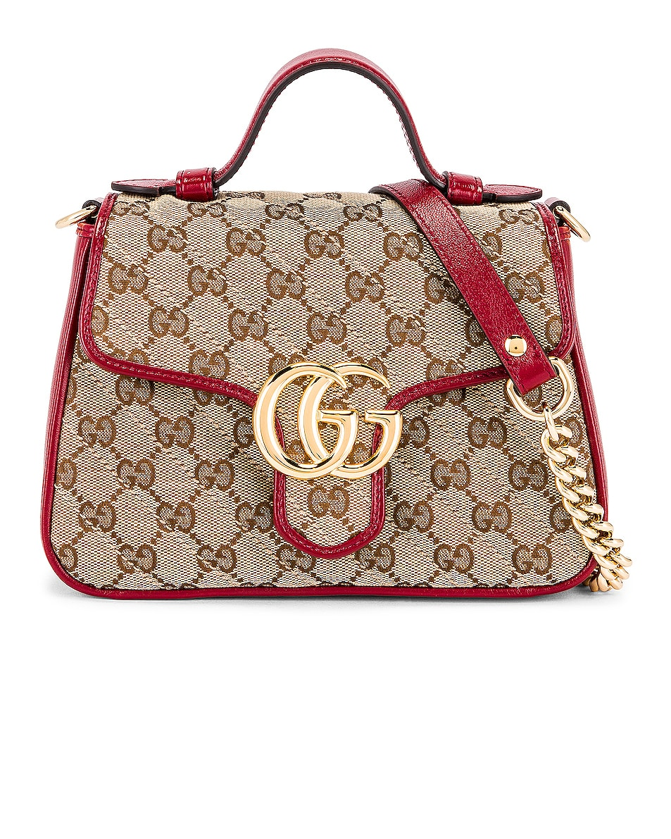 Image 1 of Gucci Top Handle Bag in Beige Ebony & New Cherry Red