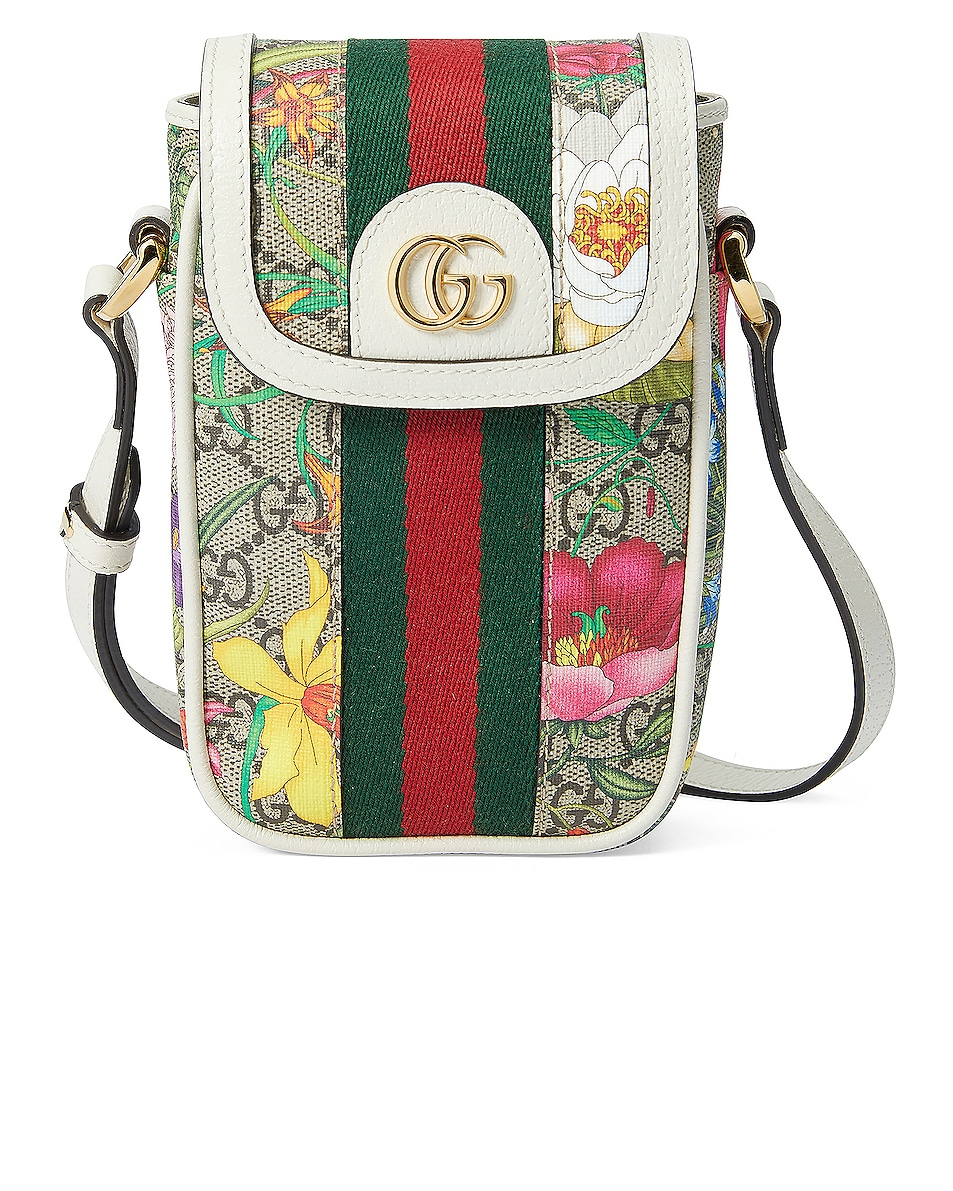 Image 1 of Gucci Mini Floral Chain Bag in Beige Ebony & White