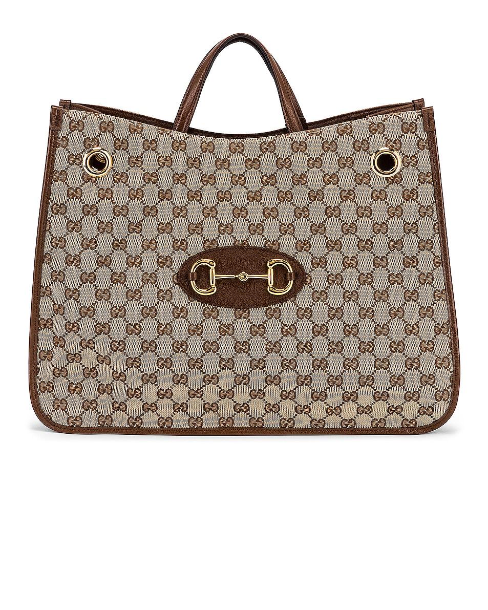 Image 1 of Gucci 1955 Horsebit Tote Bag in Beige Ebony & Brown Sugar