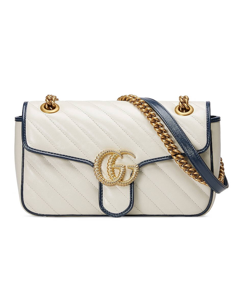 Image 1 of Gucci GG Marmont Bag in Mystic White & Blue Agata
