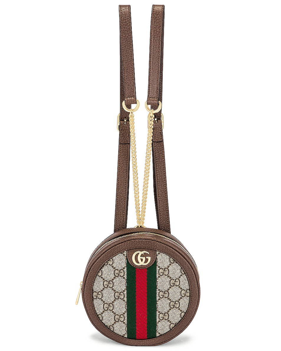 Image 1 of Gucci Ophidia GG Round Chain Backpack in Beige Ebony